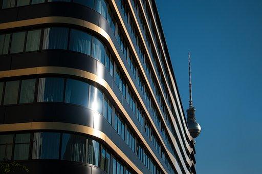 Berlin, Tv Tower, Crane, Silhouette, Germany, Landmark
