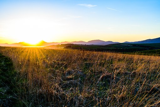 Sunset, West, Sun, Rays, Country, Grass, Dry Grass