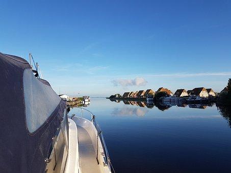 Friesland, Boat, Water, Sunrise, Tourism, Vessel