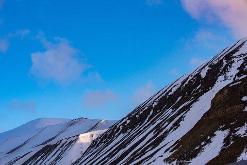 Svalbard, Longyearbyen, Snow, Way, White, Blue, Lonely