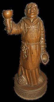 Monk, Jug Wine, Wine Glass, Holzfigur, Sculpture