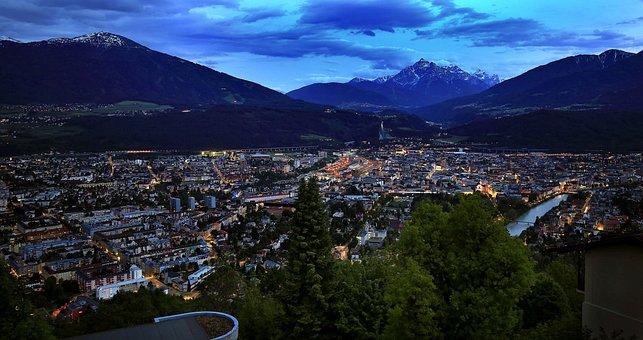 City, Innsbruck, Night Photograph, Abendstimmung