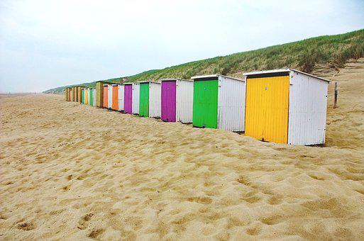 Beach Houses, Sea, Zealand, Yellow, Red, Purple, Booth
