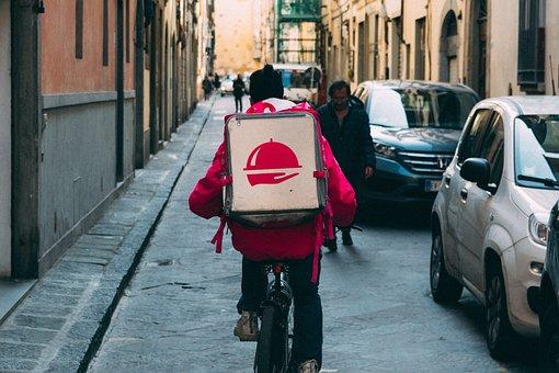 Foodora, Bike, Delivery, Street, Bicycle, Box