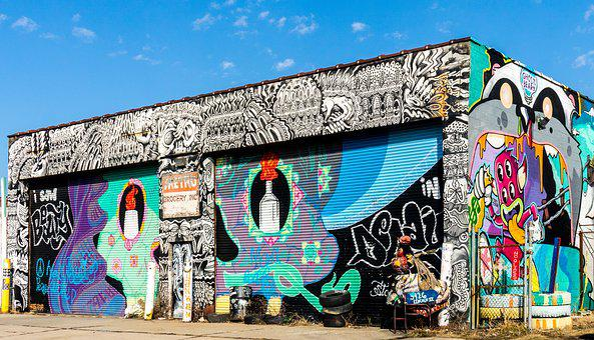 Graffiti, Garage, Building, Design, Urban