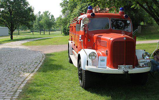 Fire, Oldtimer, Red, Fire Truck, Old