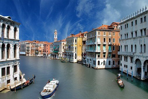 Venice, Channel, Great, Canal, Gondola, Water, Veneto