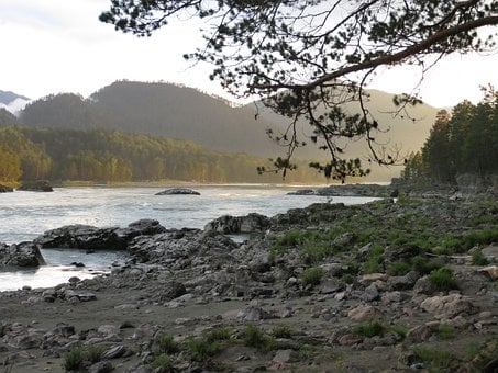 Nature, Mountains, River, Landscape, Stones, Sunset