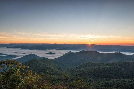 Sunrise, Mountains, View, Landscape, Sun, Morning