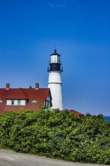 Maine, Portland, Lighthouse, New, England, Light, Water