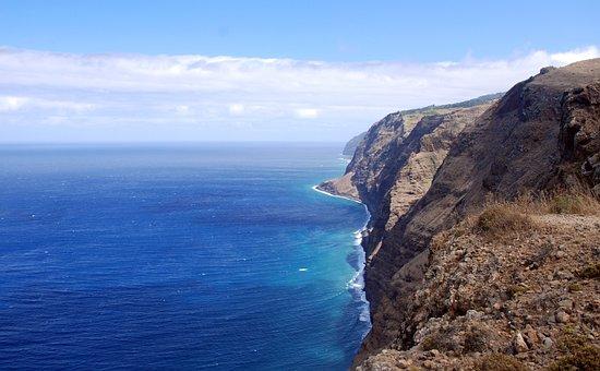 Ocean, Water, Rocks, Cliff, Madera, Blue, Sea