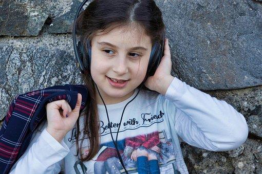 Little Girl, Music, Headphones, Portrait, Technology