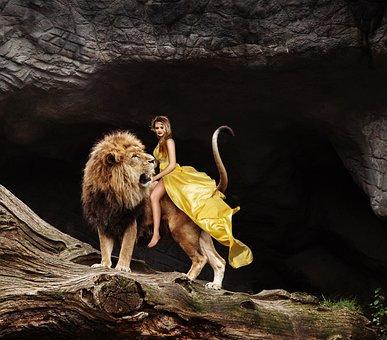 Lion, Woman, Ride, Predator, Flowing Dress, Yellow, Pet
