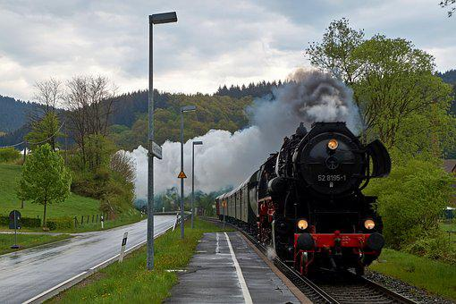 Steam Locomotive, Railway Station, Nature, Railway