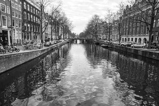 Amsterdam, River, Channels, Water, Houses, Buildings