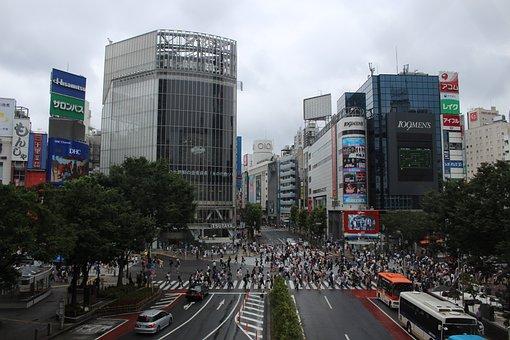 Shibuya, Tokyo, Crossroads, The Main, Clouds, Japan