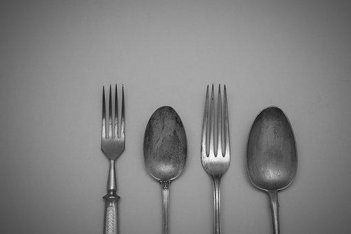 Spoon, Fork, Steel, Restaurant, Silver Tableware