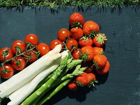 Vegetables, Asparagus, Tomato, Strawberry, Vitamins