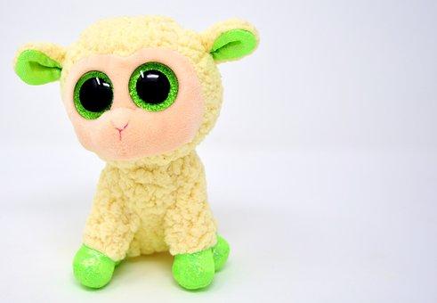 Sheep, Glitter Eyes, Stuffed Animal, Cute, Soft Toy