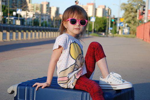 Girl, Suitcase, Summer, Child, Vacation, Weather