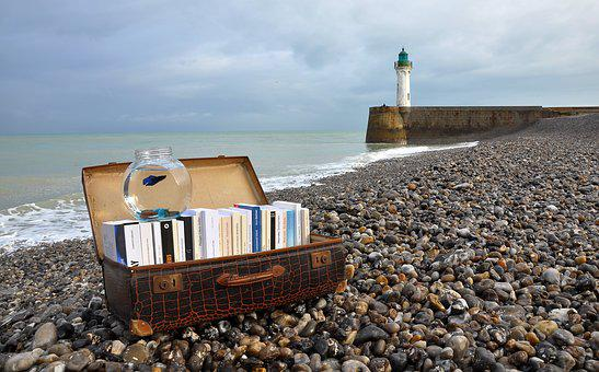 Books, Suitcase, Novel, Lighthouse, Coastline, Roller