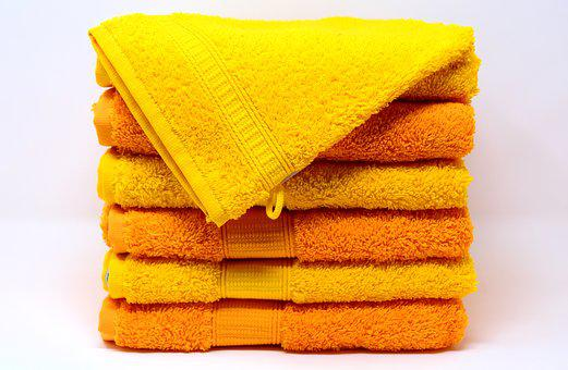 Towels, Washcloth, Yellow, Orange, Colorful, Structure