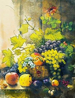 Fruit, Basket, Food, Grapes, Apples, Plumes, Wine Leaf