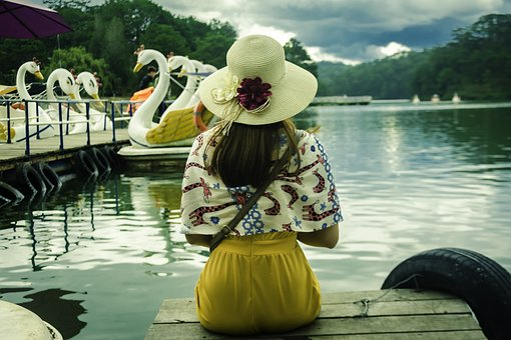 Girl, Outdoor, Beautiful, Graceful, Lake, Hat, Dalat