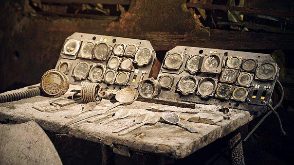 Dust, Cockpit, Instruments, Historically, Bunker, Old