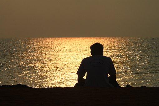 Dawn, Man At Beach, Sunrise, Natural, Outdoor, Nature