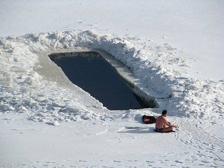Winter, Frost, Day, Ice Hole, Bathing, River, Ice, Snow