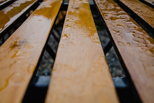 Wood, Rain, Bench Wood, Sit, Peaceful, Wet, Lines