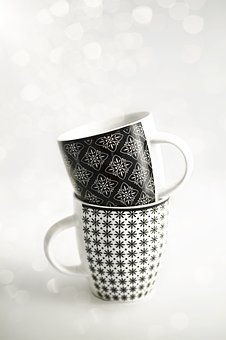 Cups, Black, White, Mug, Design, Blank, Space, Empty
