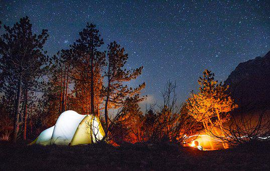 Tent, Star, Fire, Night, Forest, Camping, Campfire