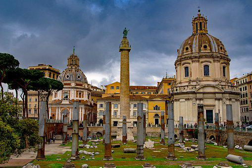 Trajan, Column, Dome, Church, Roman, Monument