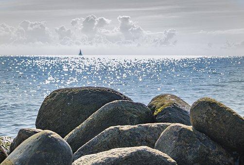 Stones, Coast, Sea, Water, Round Stone, Stone Beach