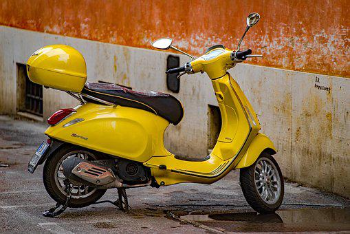Vespa, Scooter, Motorcycle, Motorbike, Vehicle, Yellow