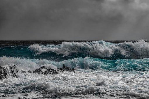 Waves, Storm, Spray, Foam, Sky, Clouds, Weather, Nature