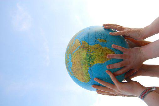 World, Bear, Hands, Globe, Earth, Sky, Together