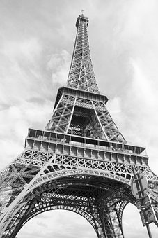 Paris, France, Tower, Black And White, Structure