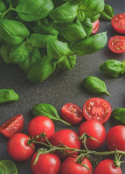 Tomatoes, Basil, Food, Tomato, Italian, Vegetable