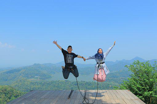 Jumping, Adventure, View, Wonderful Indonesia, Kalibiru