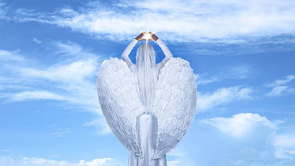 Sky, Clouds, Angel, Blue Sky, Light, Ray, Wings