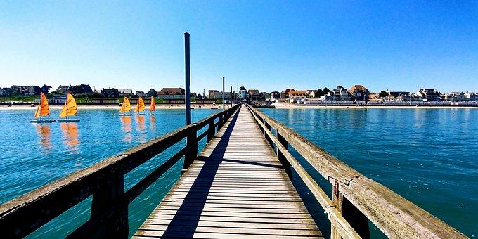 Normandy, Beach, High Tide, Sun, Blue Sky, Pier, Boom