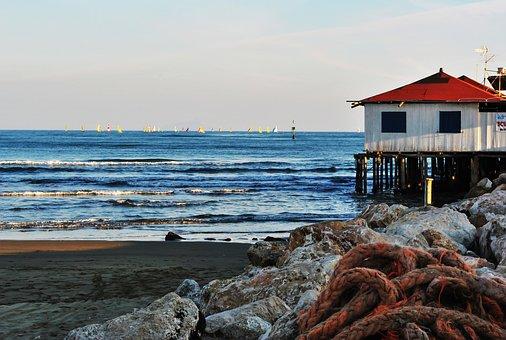 Sea, Evening, Sunset, Boats, House, Beach, Twilight