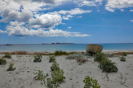 Sardinia, Italy, Beach, Boot, Sky, Clouds, Castiadas