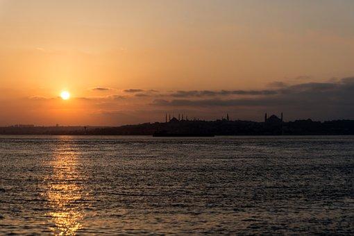 Istanbul, Kadikoy, Crepuscule, Sunset, Bosphorus