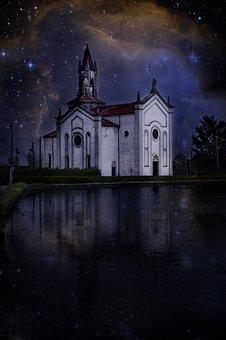 Church, Italy, Architecture, Night, Gothic, Campanile