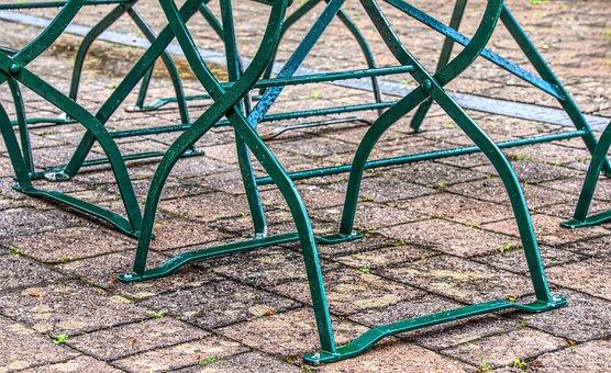 Chair, Chair Legs, Feet, Ground, Paving Stones