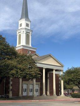 Church, Steeple, Farmers Branch, Christ, Jesus, Pillars